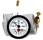 Капилярен термоманометър за вграждане Ø57 mm, 0-120 °C, 0-4 bar, капиляри 1,5 m