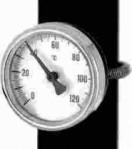 Контактен термометър INOX Ф63 mm за закрепване на тръба с пружина 0-120 °C