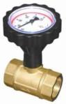 """Кран сферичен с термометър Ø77 mm, 0-120°С и възвратен клапан 3/4"""" PN10"""