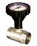 """Сферичен кран с термометър Ø77 mm, 0-120°С, със син пръстен 1/2"""" PN40"""