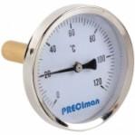 """Биметален термометър аксиален Ф63-100, 0-120 °C, гилза 100mm, G1/2"""""""