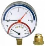 """Термоманометър радиален Ø80 mm TIRM80 0-4bar 0-120°C 1/2"""""""